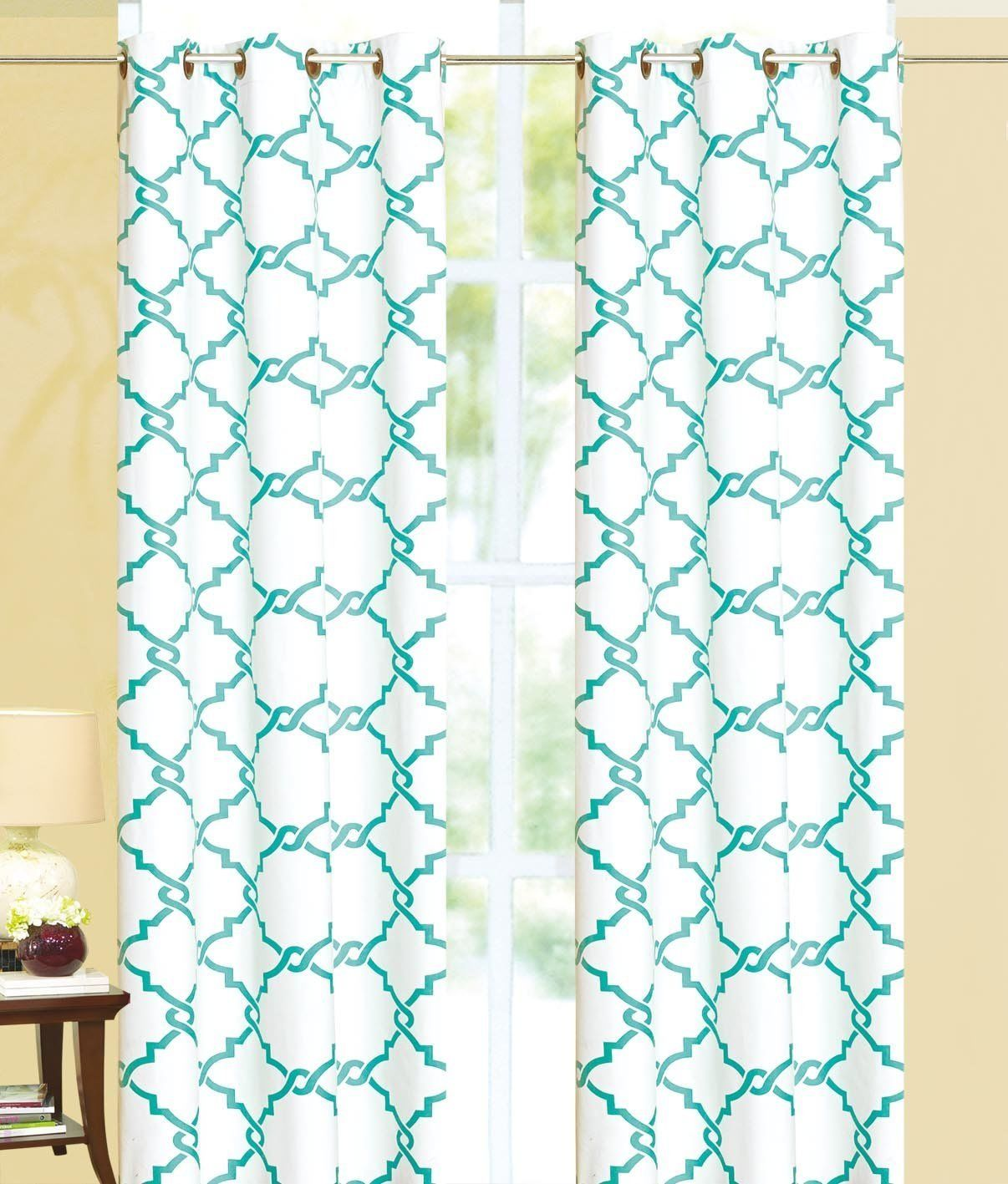 Geometric 100% Thermal Blackout Grommet Insulated Curtain Panel - Turquoise Blue