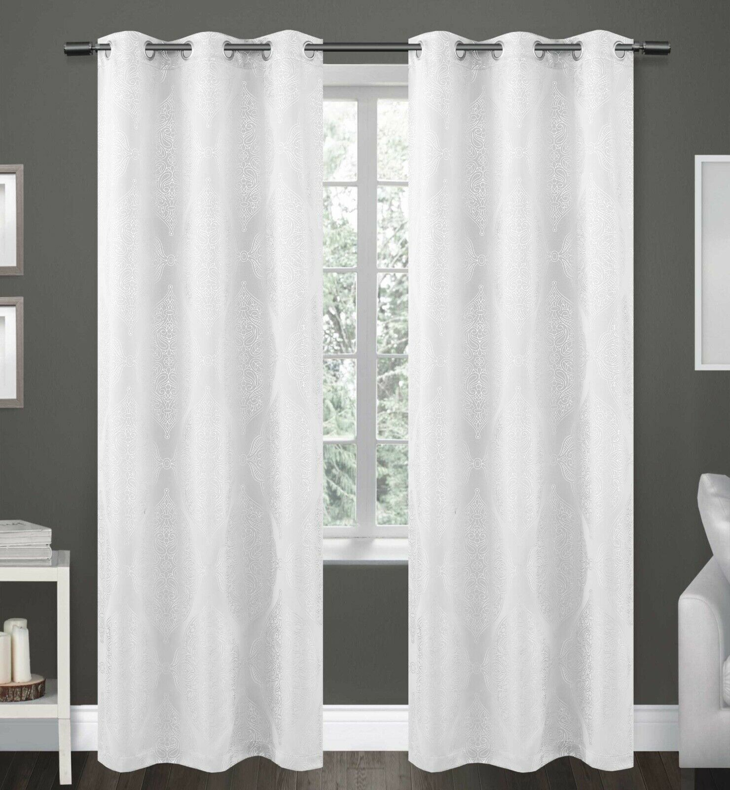"Haley 84"" Long Faux Silk Window Curtain Grommets Panels Set of 2 - White"