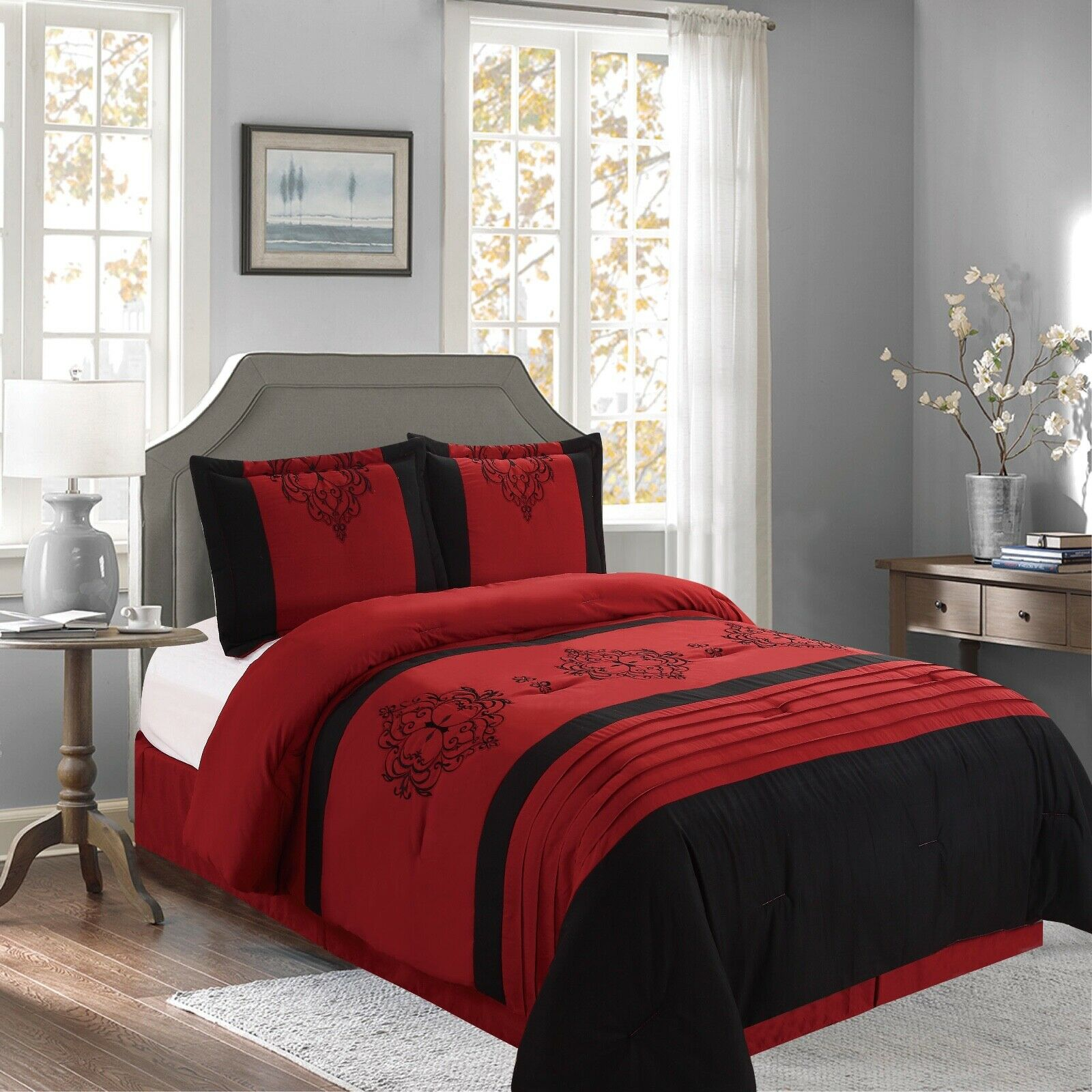 Heba Damask 4-Piece Comforter Set Bedding - Red & Black