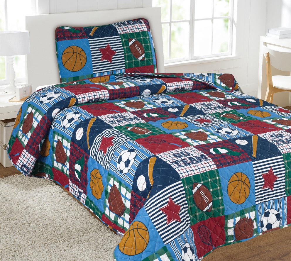 Kids Bedding Quilt Set Bedspread Twin Size Bed Cover - Sports Patchwork