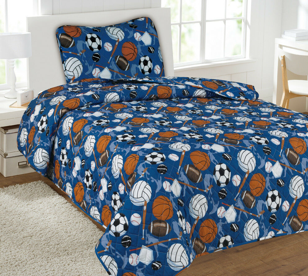 Kids Bedding Quilt Set Bedspread Twin Size Bed Cover - Sports Blue