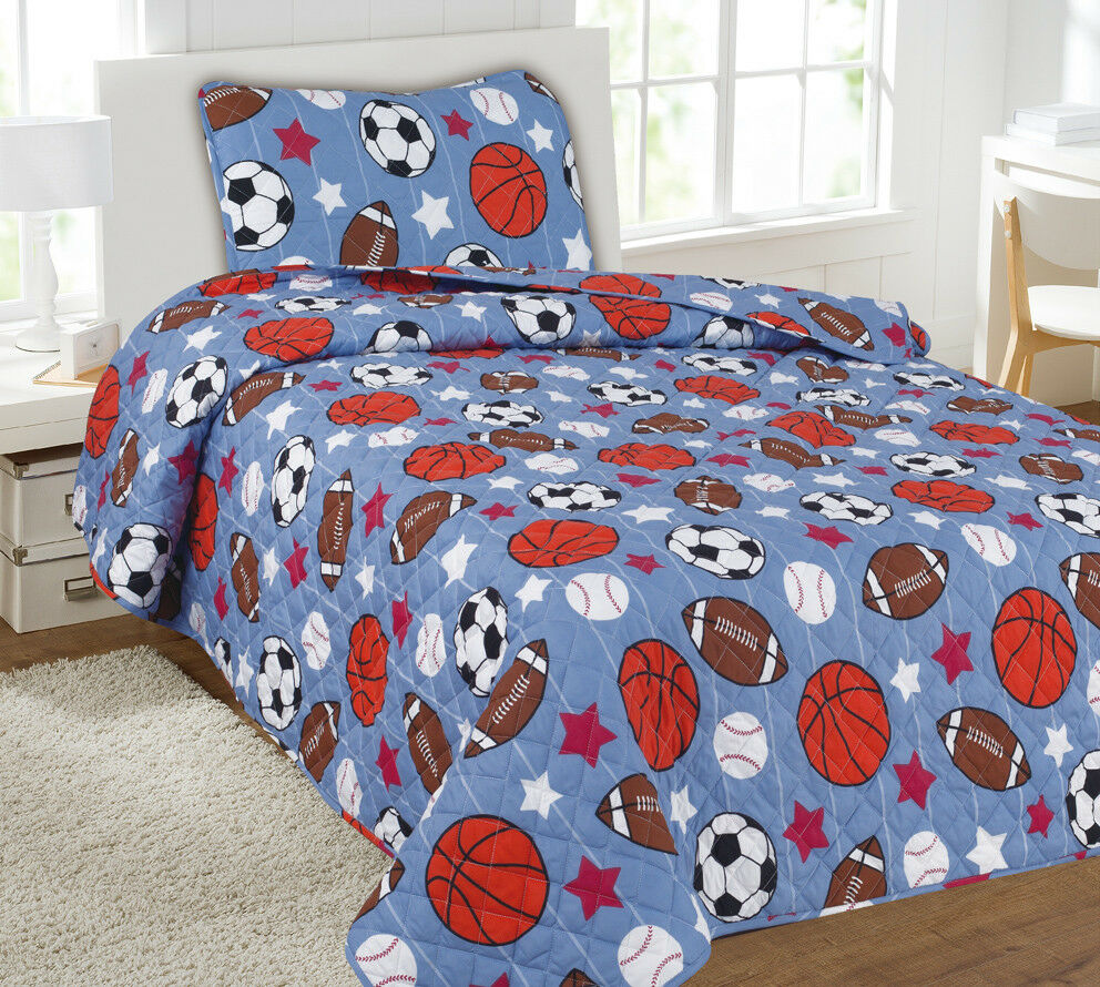Kids Bedding Quilt Set Bedspread Twin Size Bed Cover - Game Day Sports