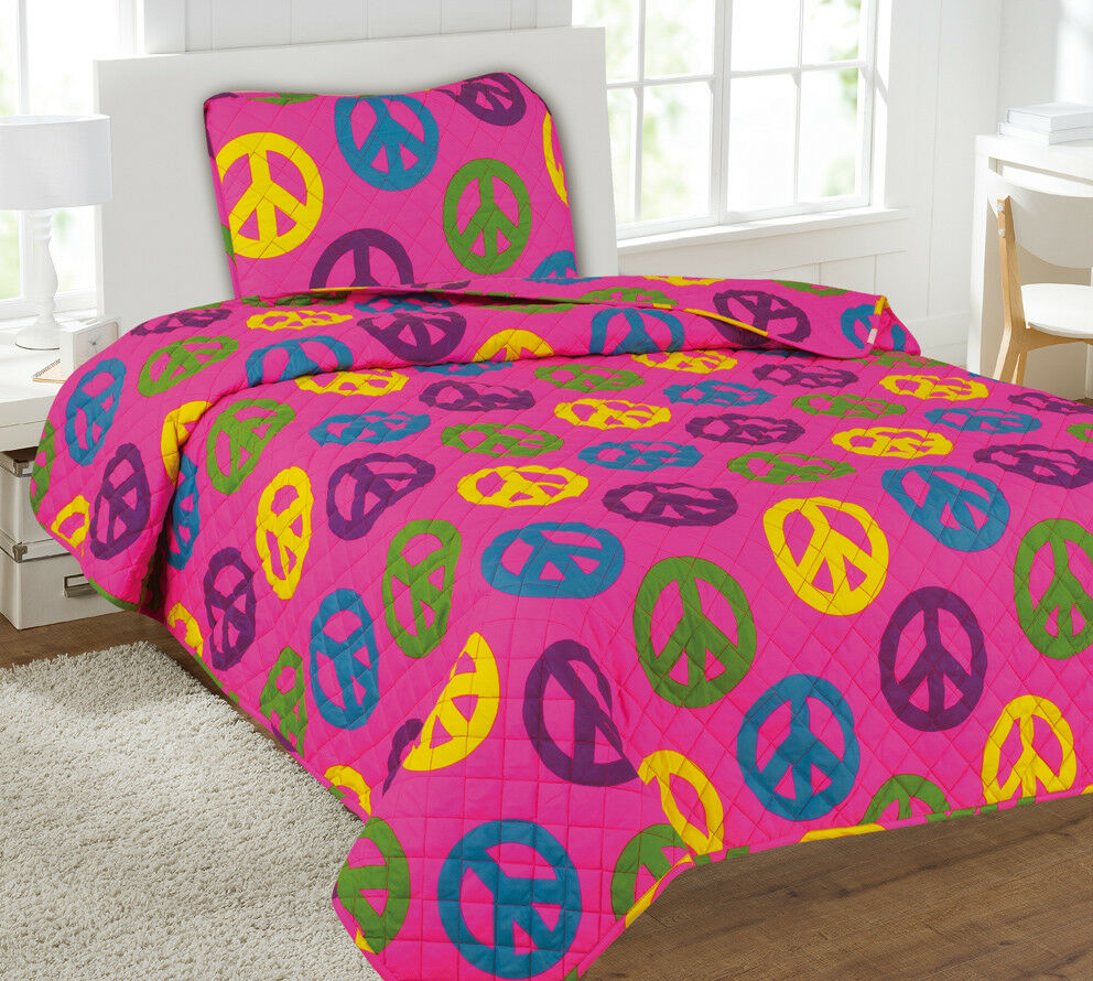 Kids Bedding Quilt Set Bedspread Twin Size Bed Cover - Peace Sign