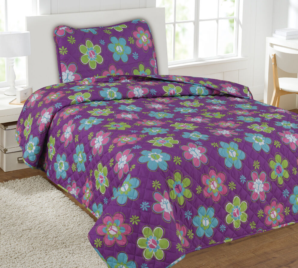 Kids Bedding Quilt Set Bedspread Twin Size Bed Cover - Purple Flower