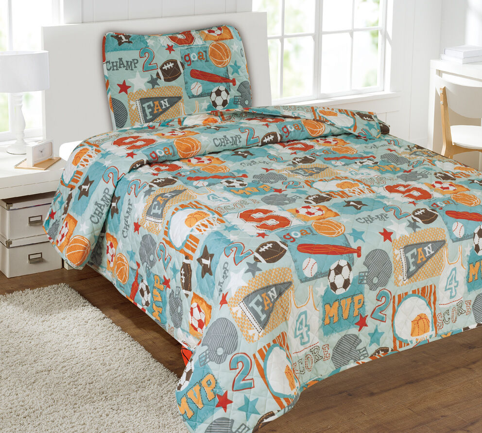 Kids Bedding Quilt Set Bedspread Twin Size Bed Cover - Sports Champ