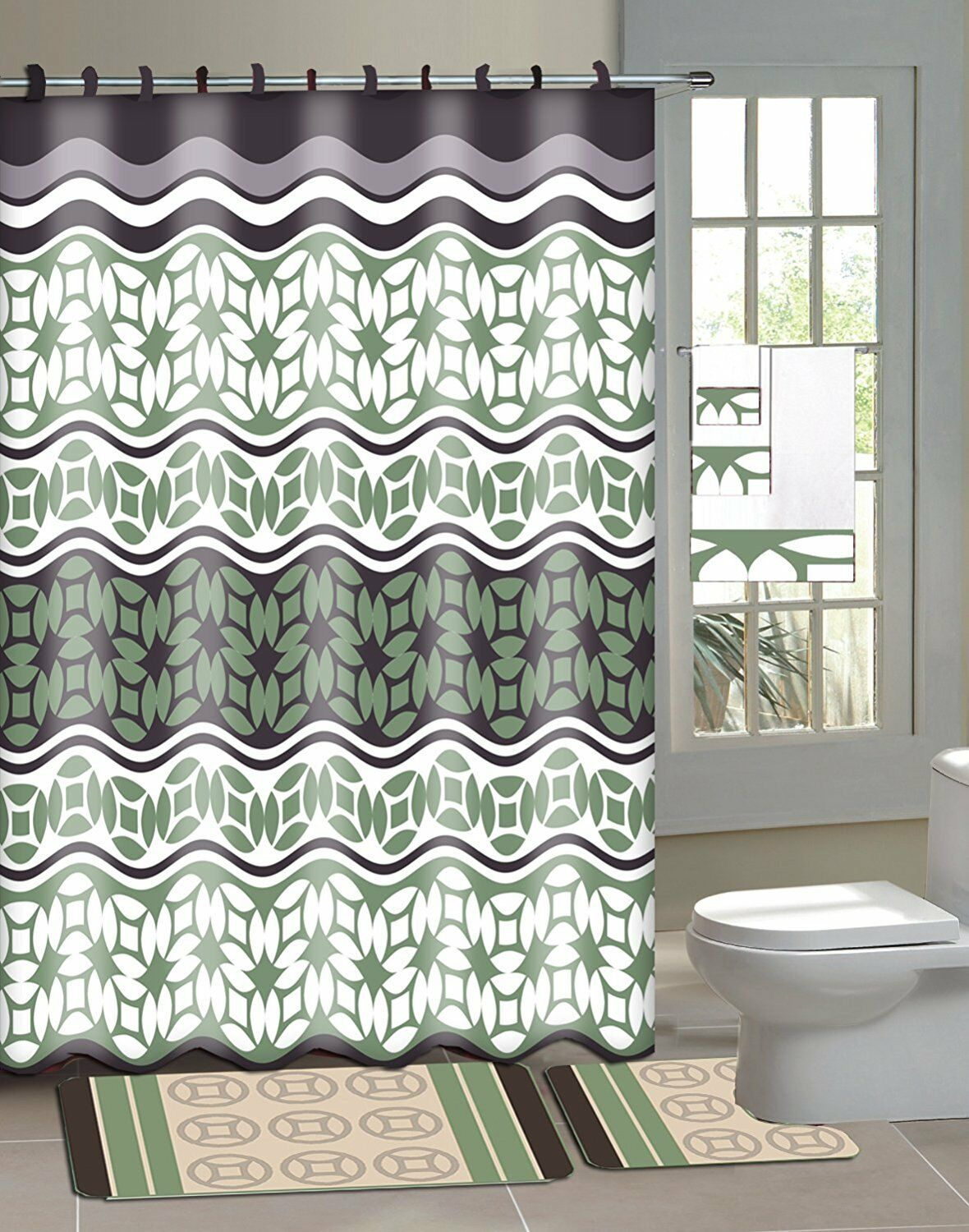 Laurel 15-Piece Bathroom Accessory Set Bath Mats Shower Curtain - Green
