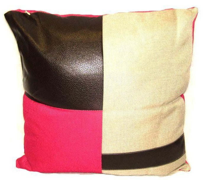 Leather Cushion Square Decorative Throw Pillow - Hot Pink