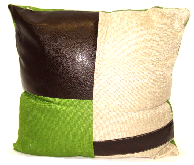Leather Cushion Square Decorative Throw Pillow - Green