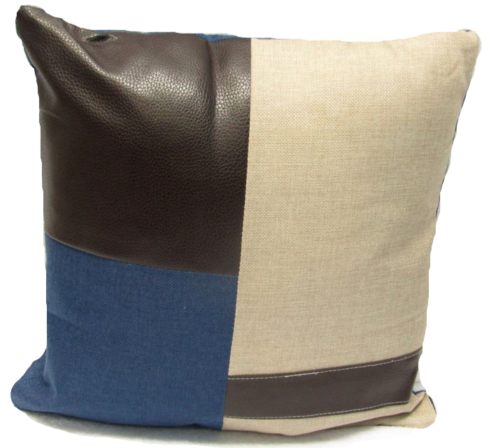 Leather Cushion Square Decorative Throw Pillow - Navy Blue