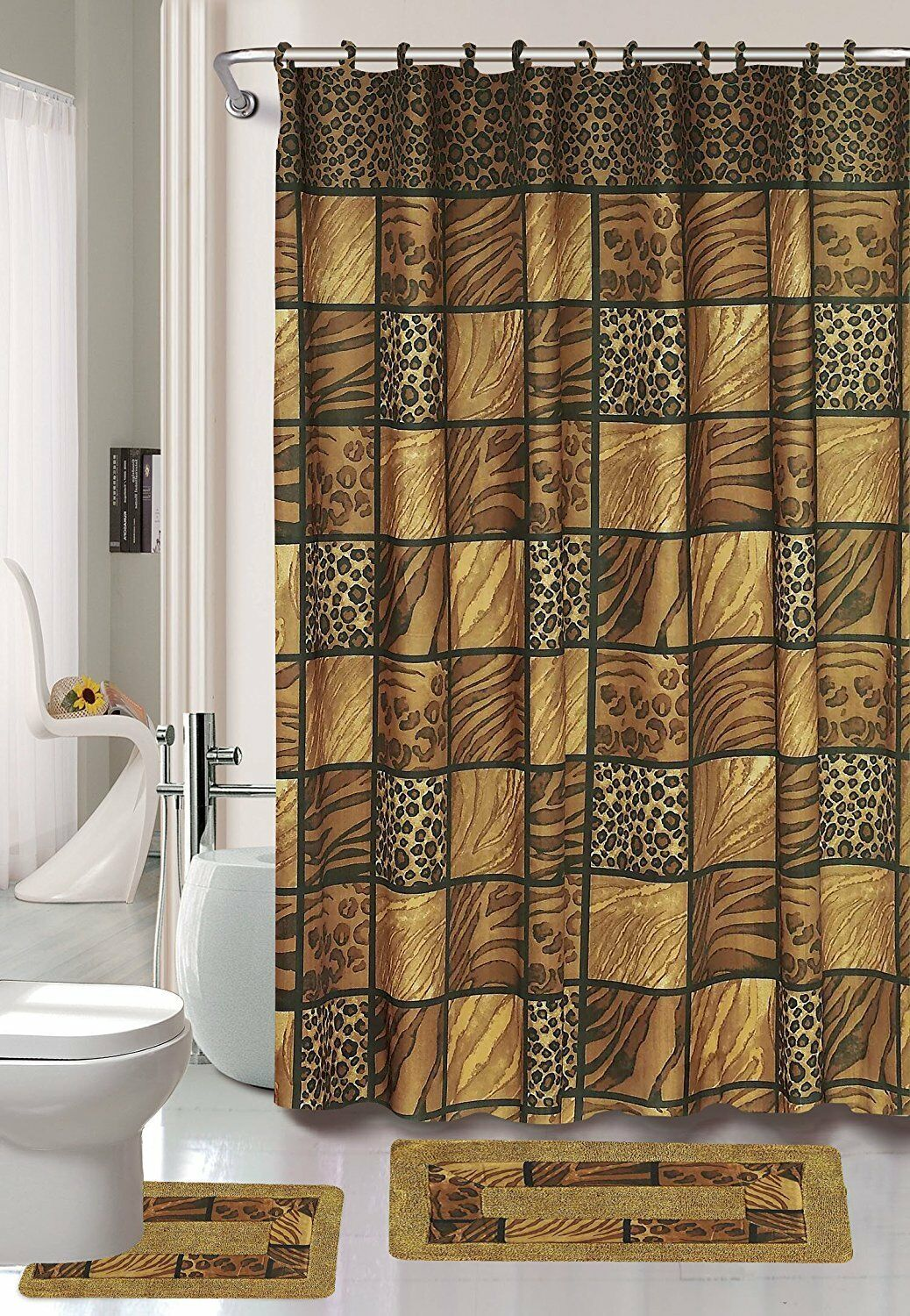 Leopard Safari 15-Piece Bathroom Accessory Set Bath Mats & Shower Curtain