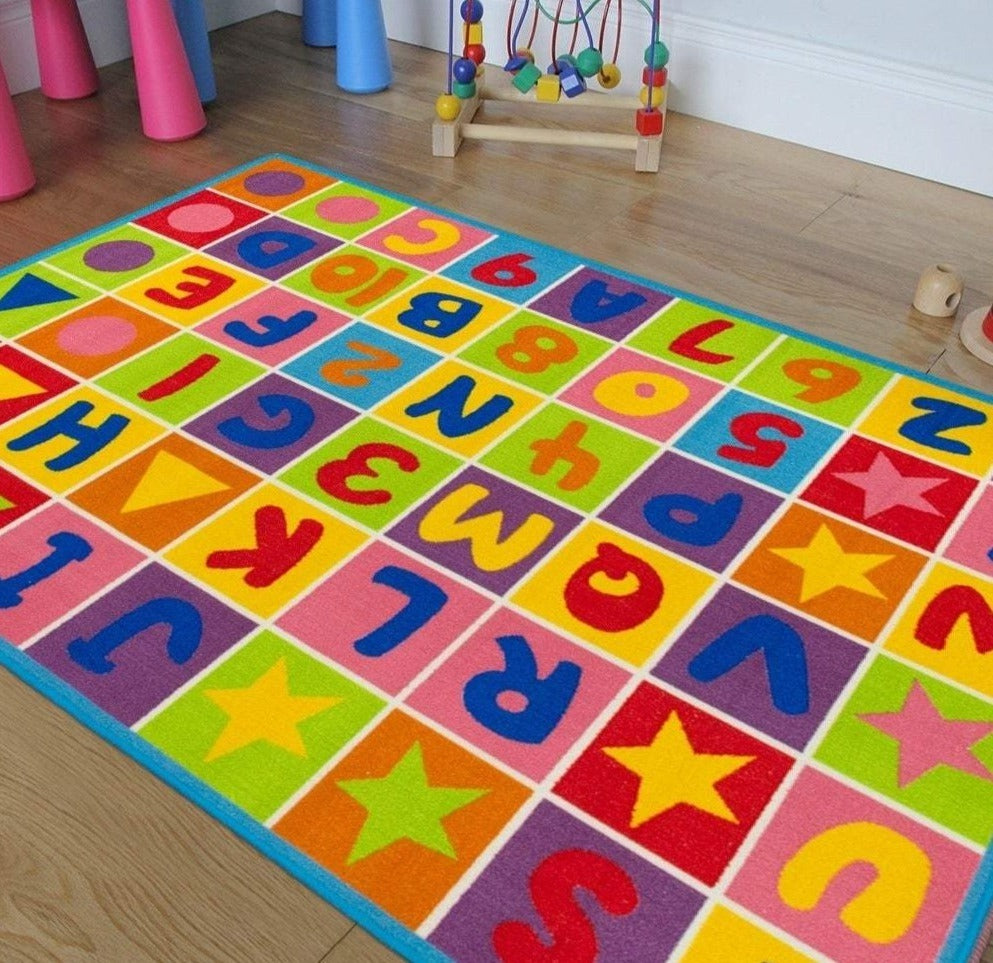 Letters & Numbers - Children's Area Rug Kids Nursery Carpet Play Mat