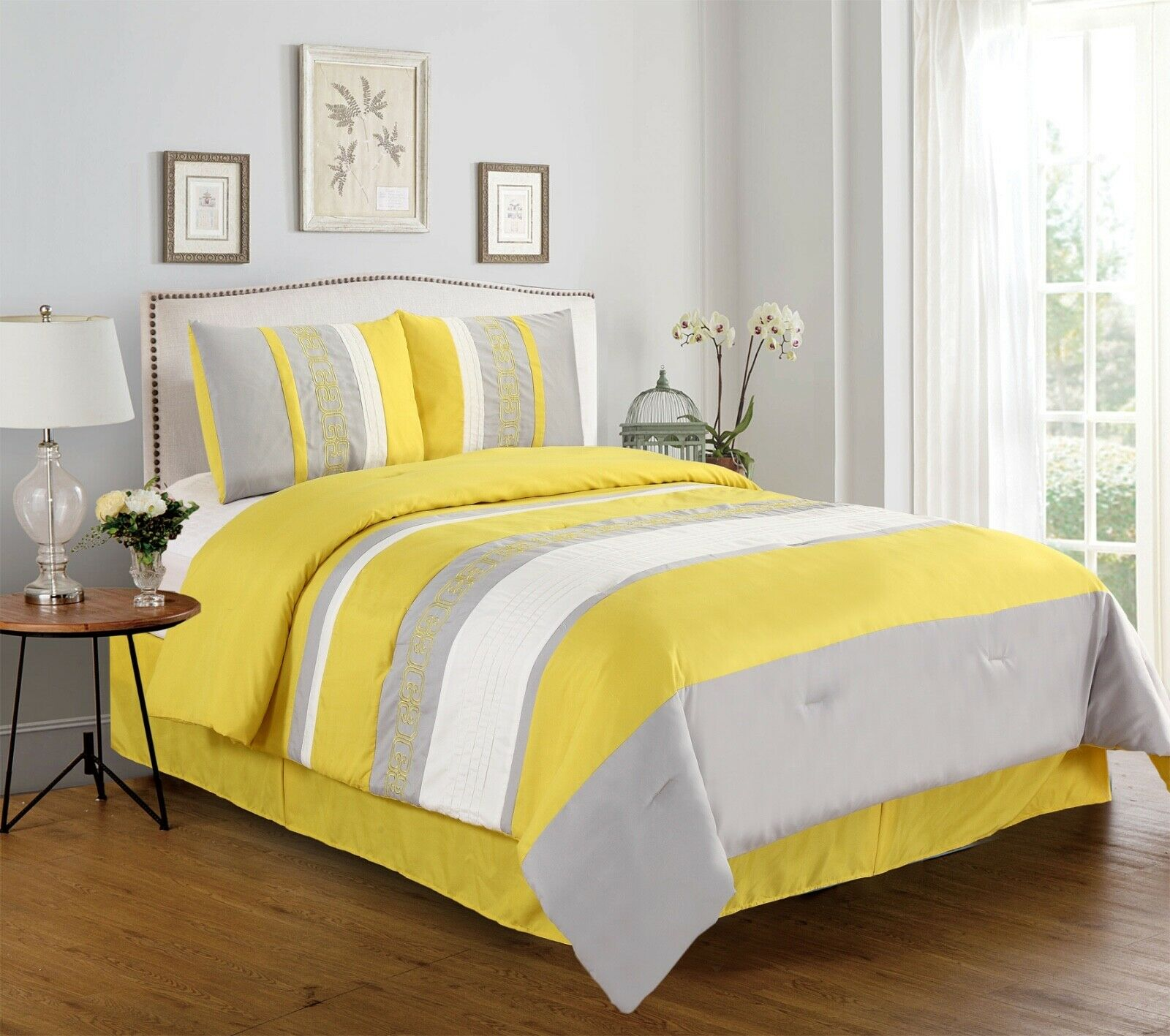 Manar 4-Piece Embroidered Comforter Set Bedding - Yellow & Gray