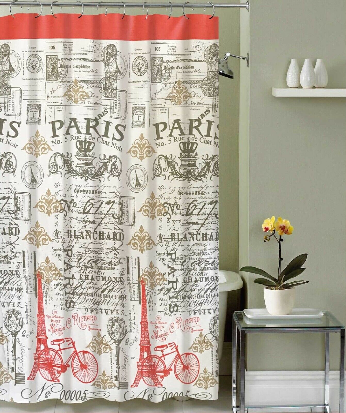 Canvas Heavy Shower Curtain Paris Eiffel Tower W/ 12 Metal Hooks
