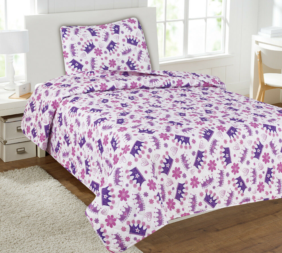 Kids Bedding Quilt Set Bedspread Twin Size Bed Cover - Princess Purple