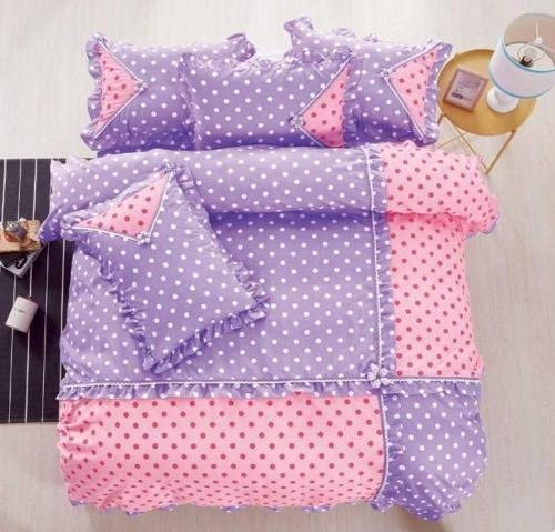Polka Dots 4-Piece Cotton Touch Comforter Set with Sheet - Pink & Lilac