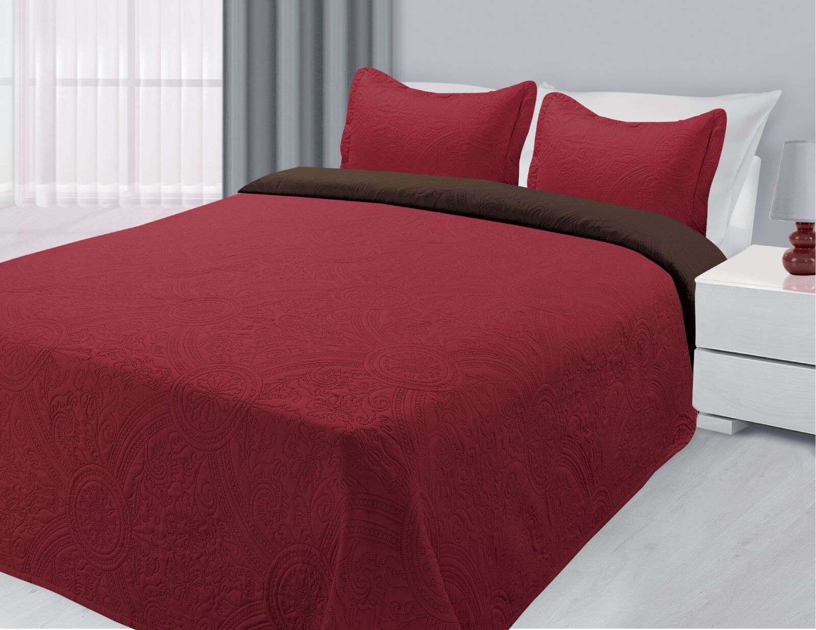 Reversible 3-Piece Solid Quilted Bedspread Coverlet Bedding Set - Burgundy & Brown