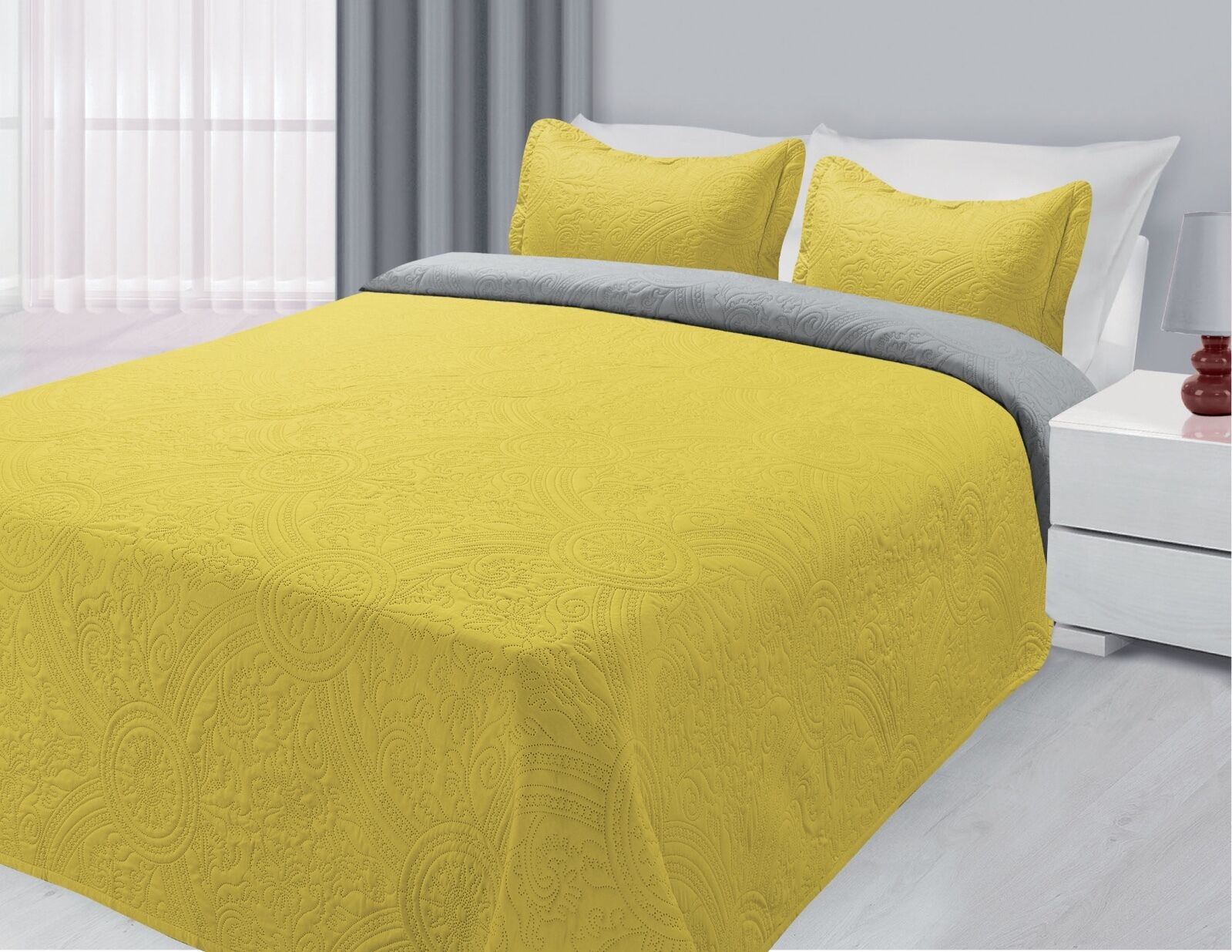 Reversible 3-Piece Solid Quilted Bedspread Coverlet Bedding Set - Yellow & Gray
