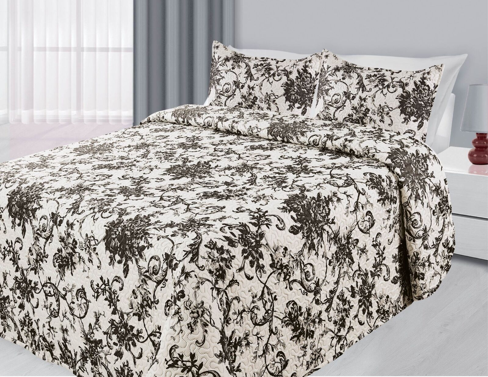 Floral 3-Piece Reversible Quilted Bedspread Coverlet Bedding Set - Black