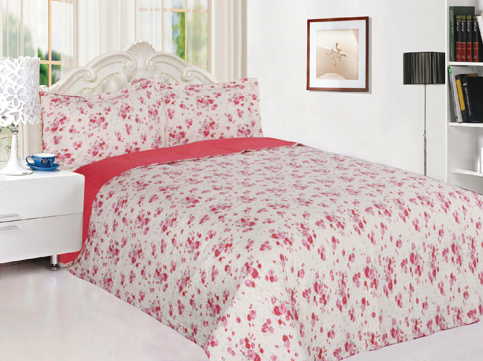 Floral 3-Piece Reversible Quilted Bedspread Coverlet Bedding Set - Pink