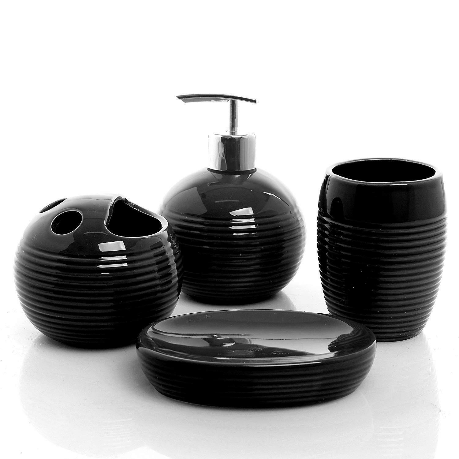 4 Piece Ceramic Bath Accessory Set - Black Ribbed