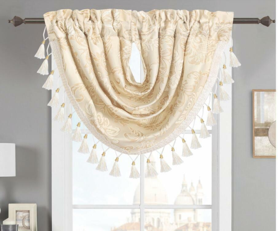 Olivia Traditional Jacquard Window Curtain Panels & Valance - Beige