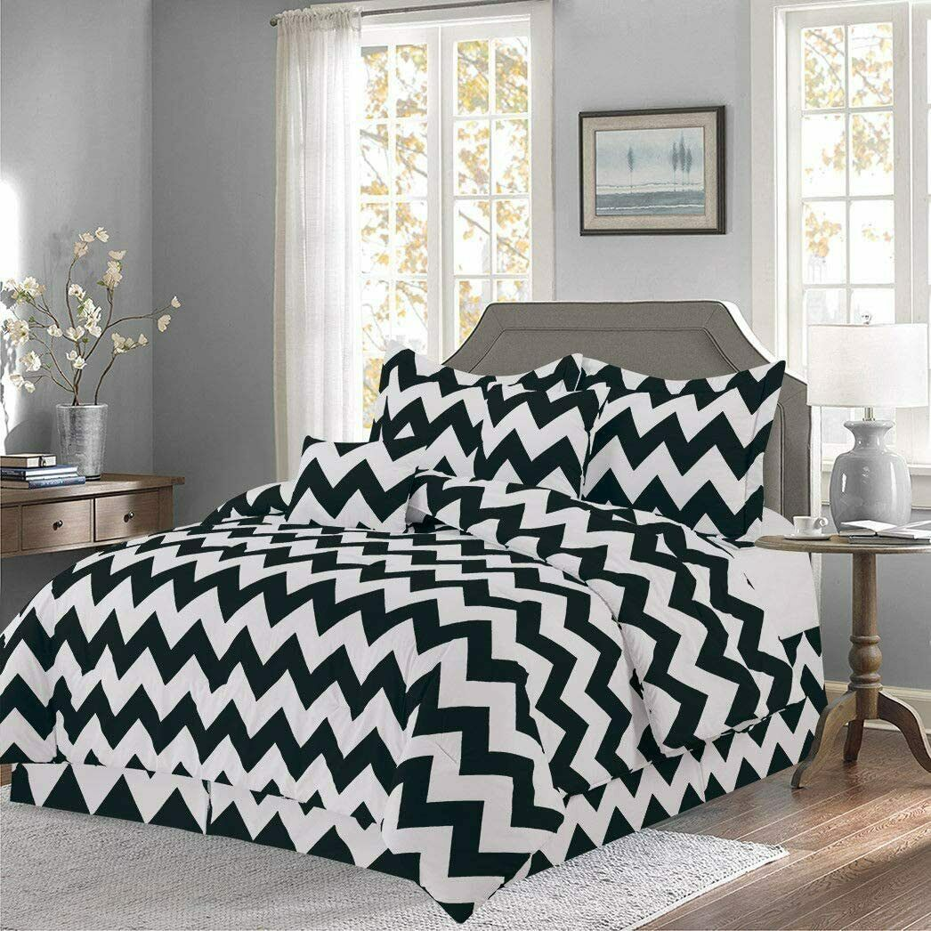 Addison Collection 10-Piece Comforter Set Reversible Bedding with Bed Sheets Queen Size - Black Chevron