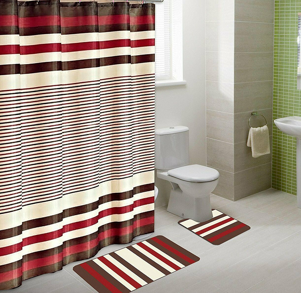 Winry 15-Piece Bathroom Accessory Set Bath Mats & Shower Curtain