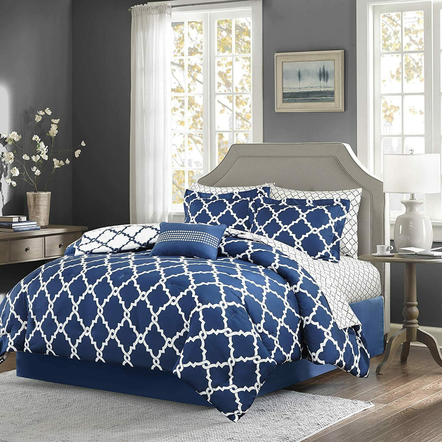 Addison Collection 10-Piece Comforter Set Reversible Bedding with Bed Sheets Queen Size - Navy Blue Geo