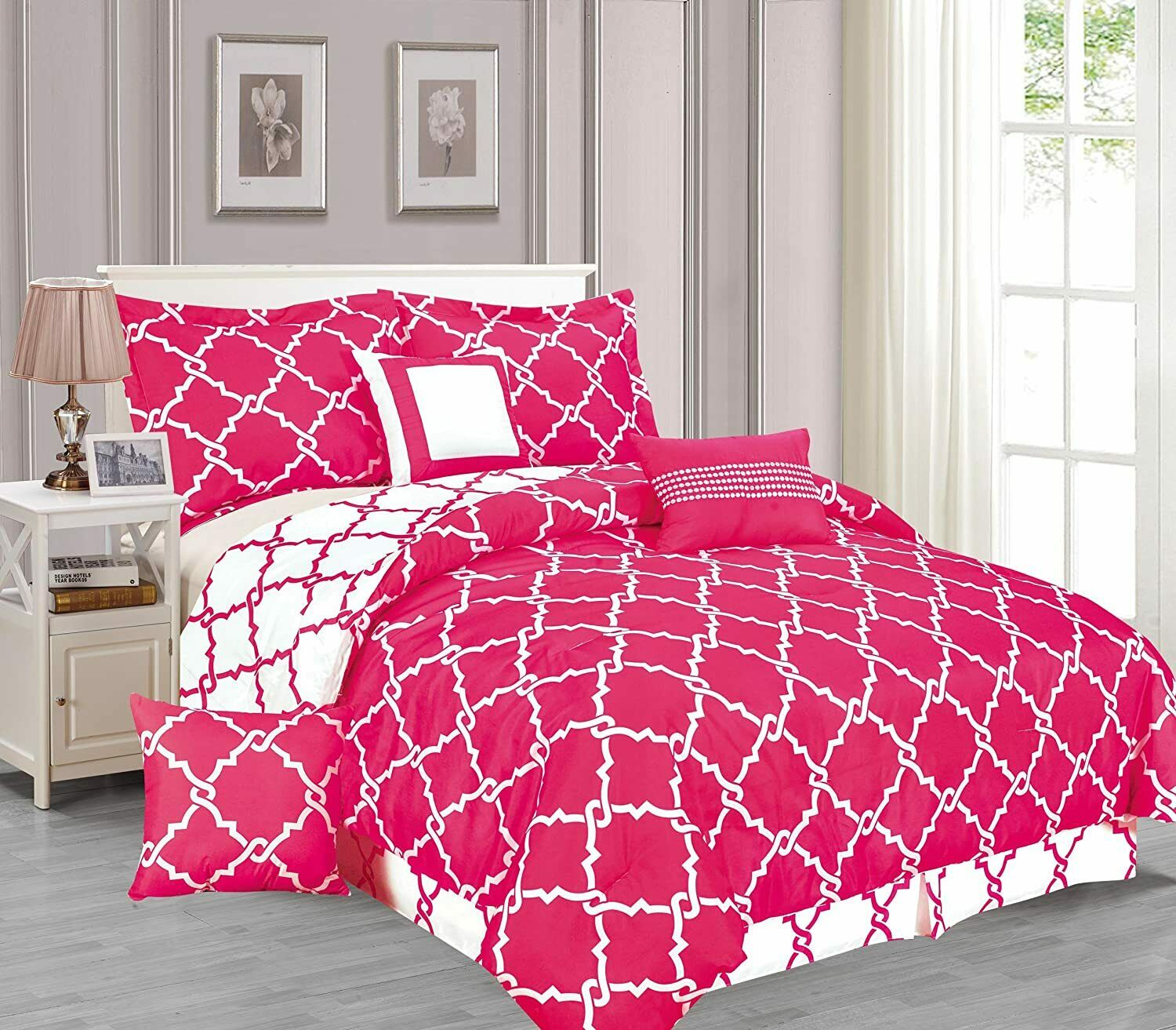 Addison Collection 10-Piece Comforter Set Reversible Bedding with Bed Sheets Queen Size - Hot Pink Geo