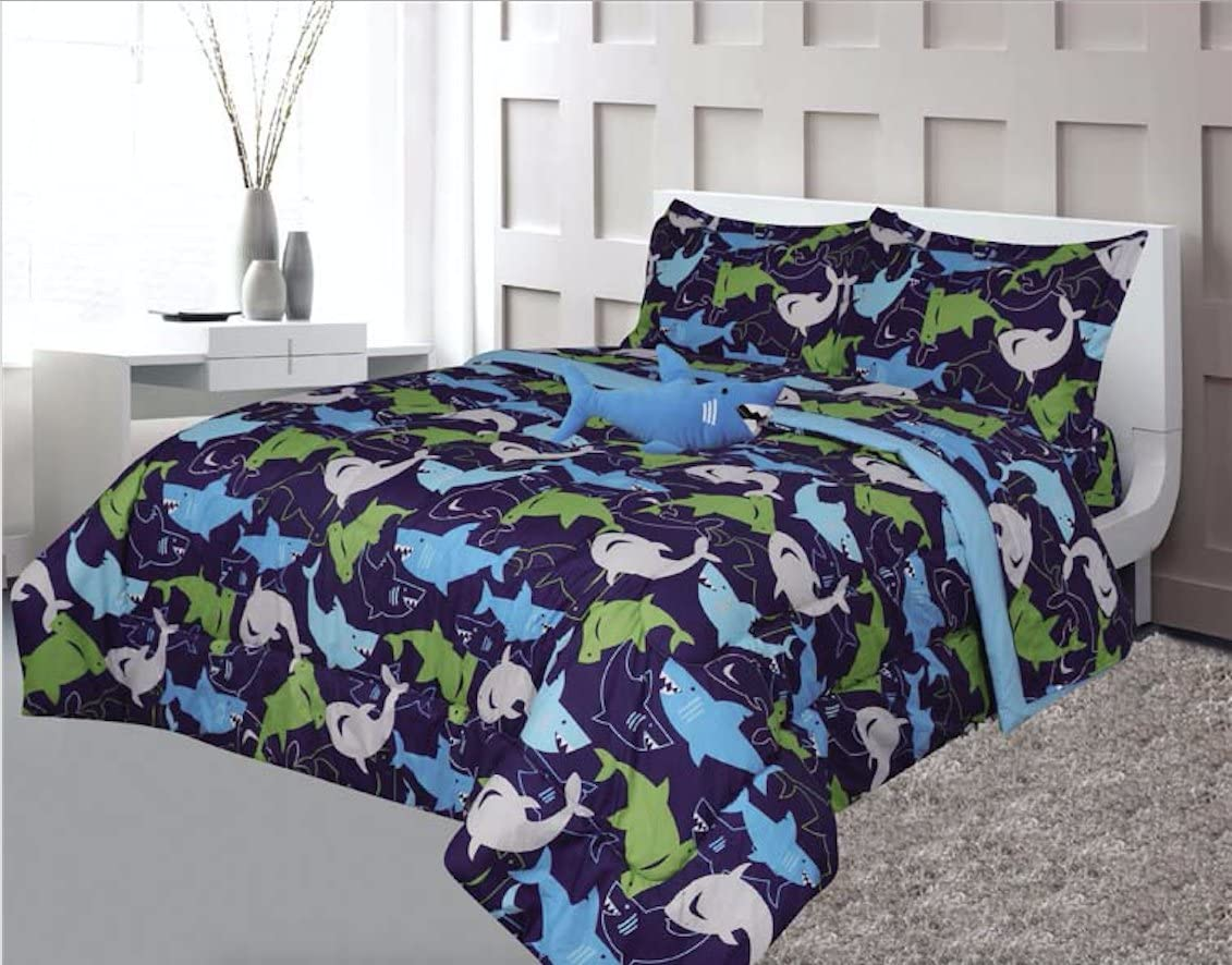 Kids 4-Piece Comforter Set Full Size Bedding - Sharks