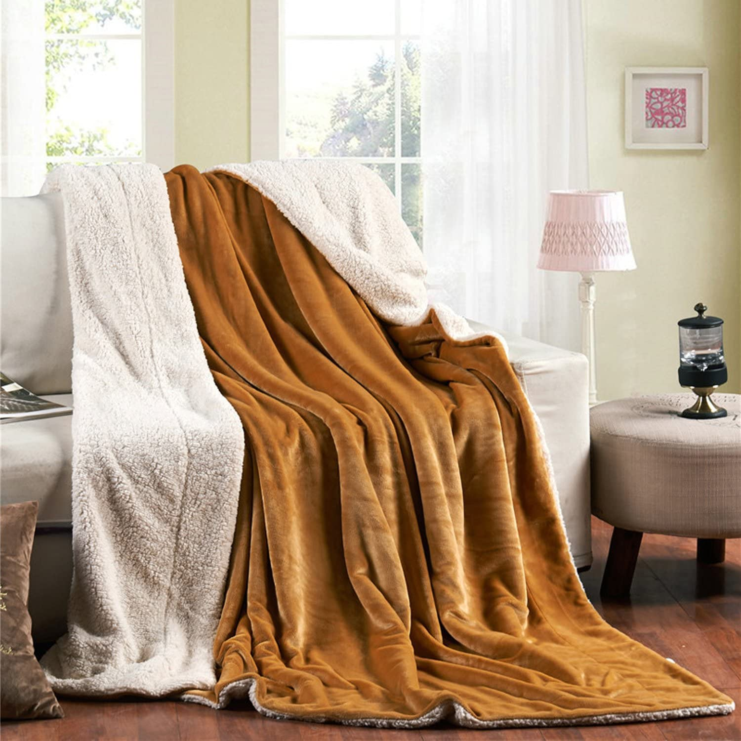 Sherpa Blankets Queen Size Bed Double Fleece Plush Fuzzy Reversible - Gold
