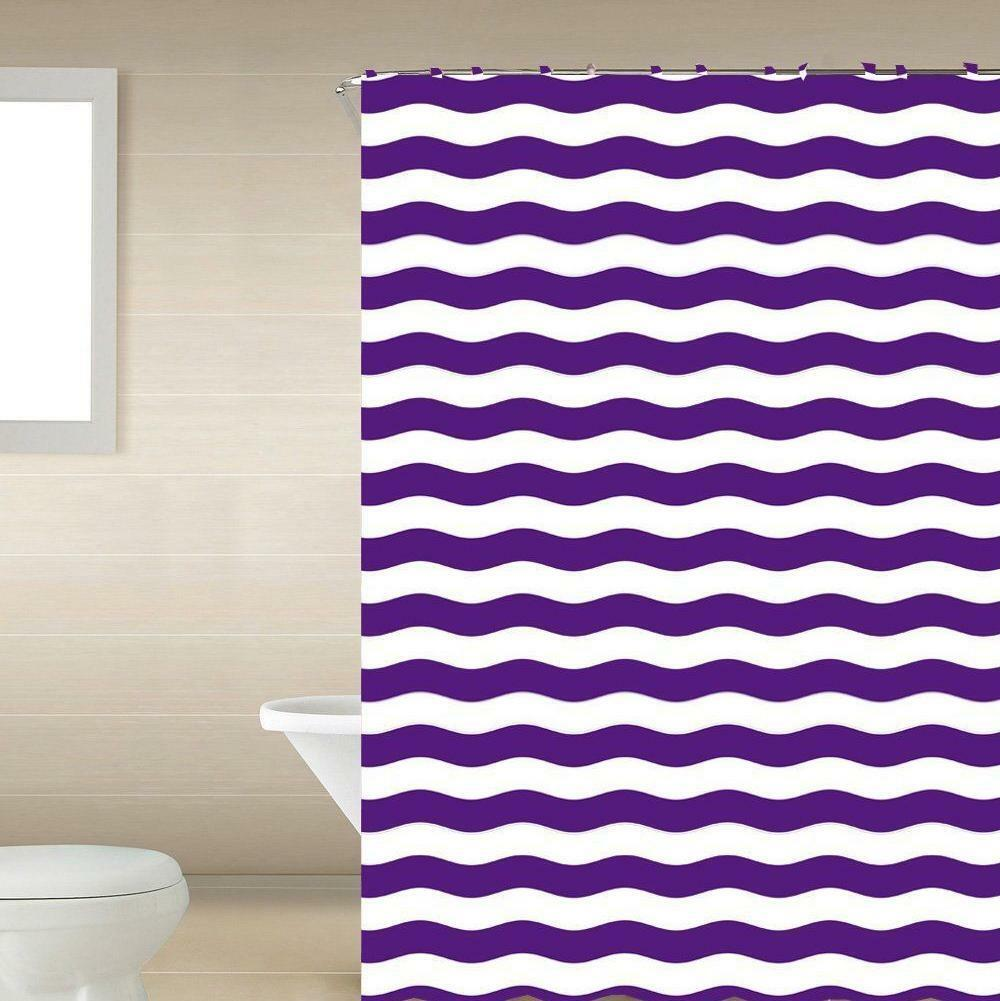 Striped 13-Piece Bath Shower Curtain & Rings Set - Purple