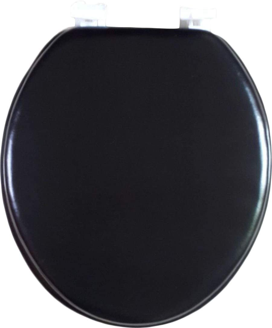 "Soft Standard Round Cushioned 17"" Toilet Seat - Black"