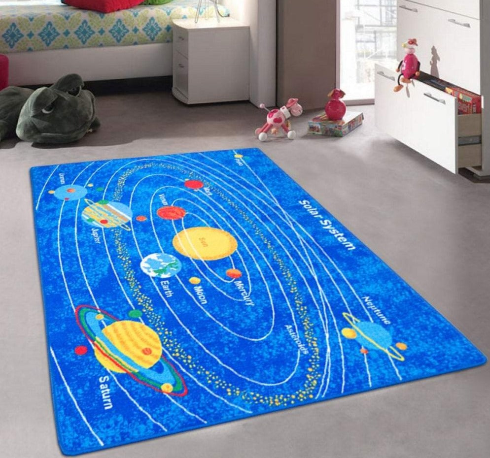 Solar System - Children's Area Rug Kids Nursery Carpet Play Mat Space