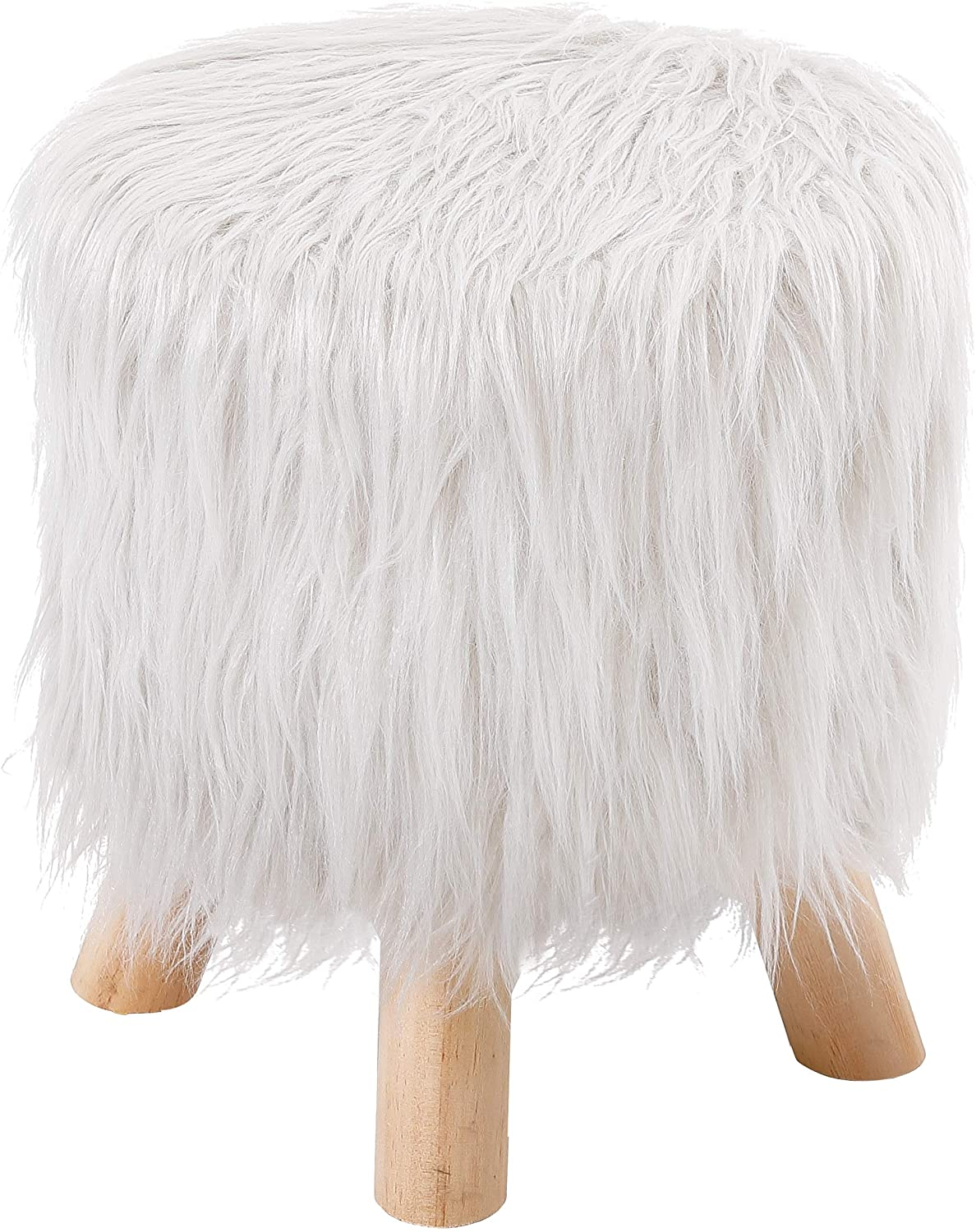 Faux Fur Foot Stool Ottoman - Soft Padded Vanity Seat Multi-Purpose Wood Legs Decorative Furniture Rest