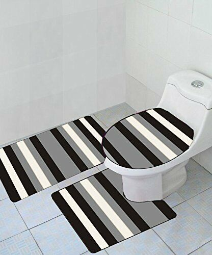 Striped 3-Piece High-Pile Bathroom Rug Set with Bath Mat Contour & Toilet Lid