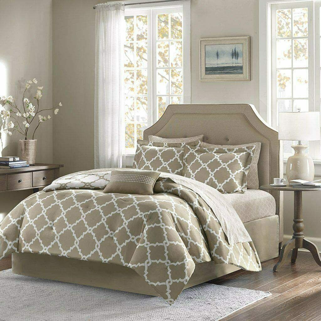 Addison Collection 10-Piece Comforter Set Reversible Bedding with Bed Sheets - Taupe Geo