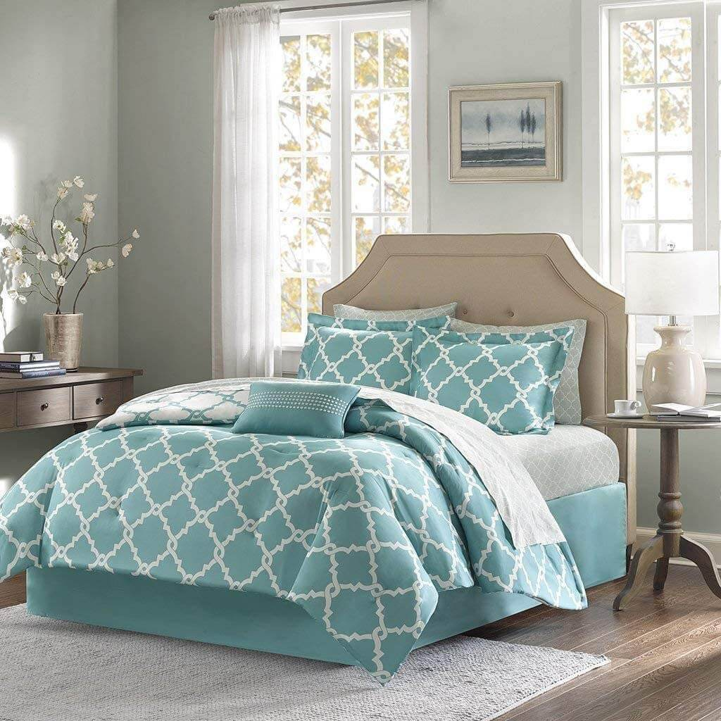 Addison Collection 10-Piece Comforter Set Reversible Bedding with Bed Sheets - Turquoise Blue Geo
