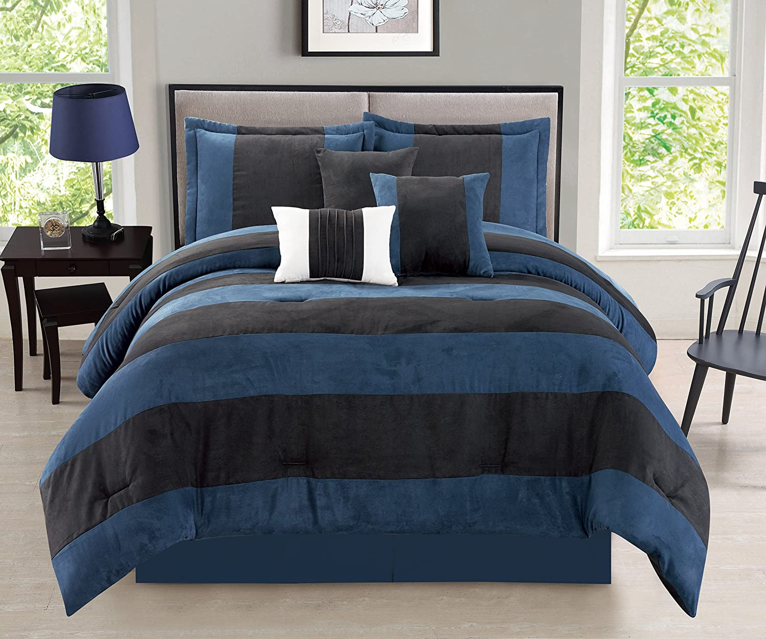 Van Dam 7-Piece Suede Comforter Set Patchwork Bedding - Navy Blue