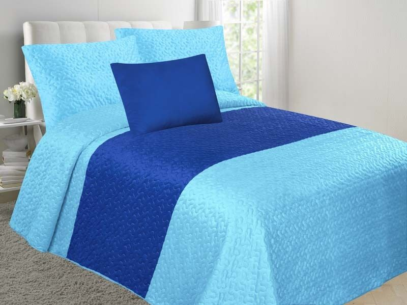 Velvet 4-Piece Embossed Bedspread Soft Multi-Tone Bedding Set - Turquoise & Royal Blue