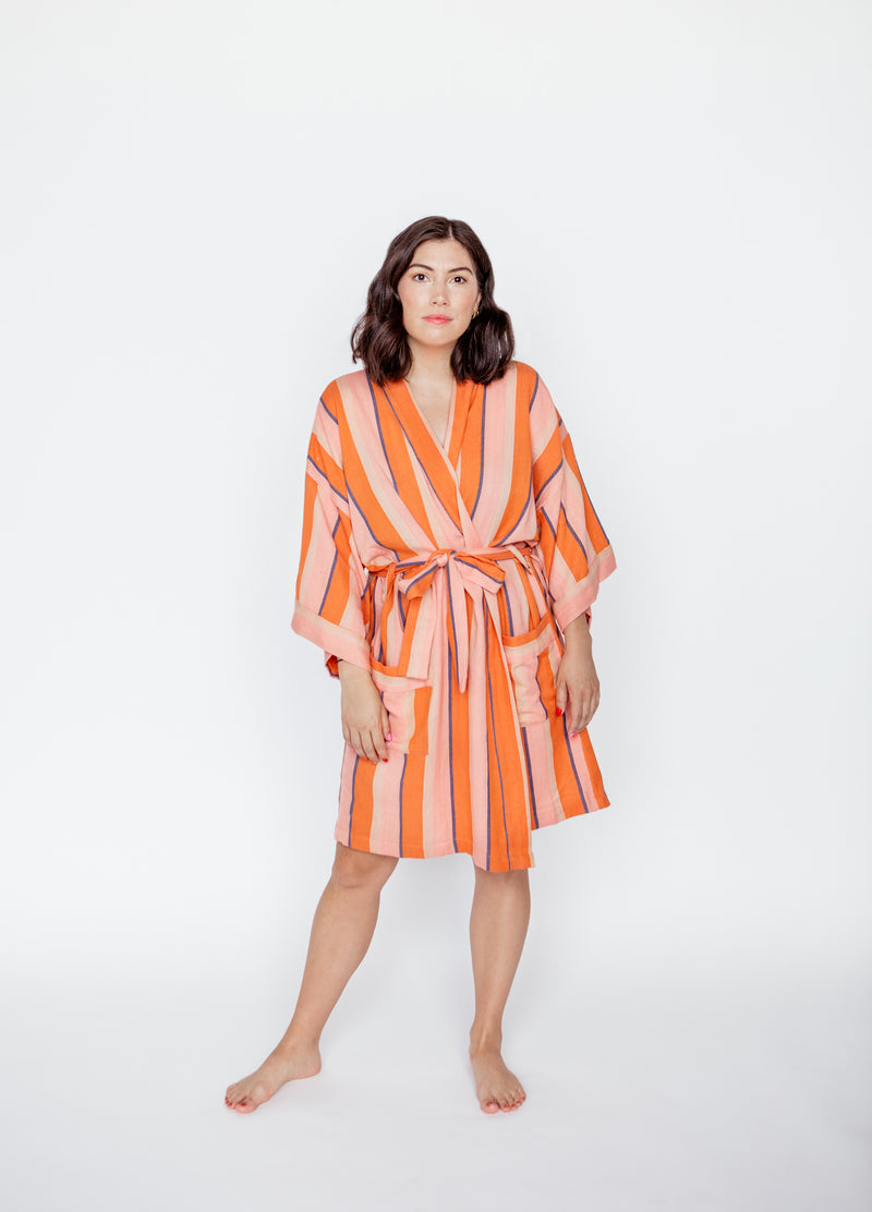 SHORT STRIPE ROBE IN TART (PRE-ORDER)
