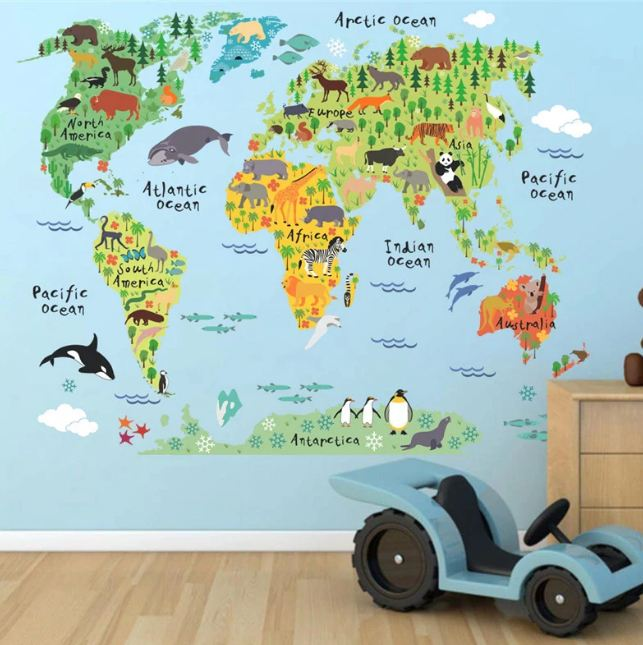 Cartoon animals world map - make-stickers