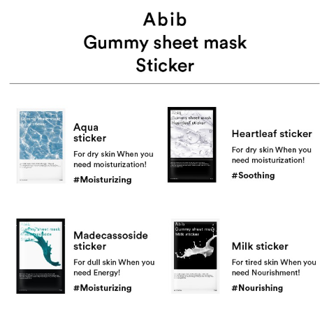 Abib Gummy Sheet Mask (4 Types)