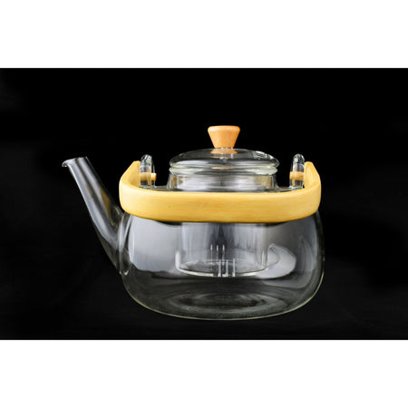 Sandy Brown Bamboo Glass Teapot