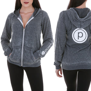 PURE BARRE BURNOUT ZIP HOODY - BLACK BURNOUT