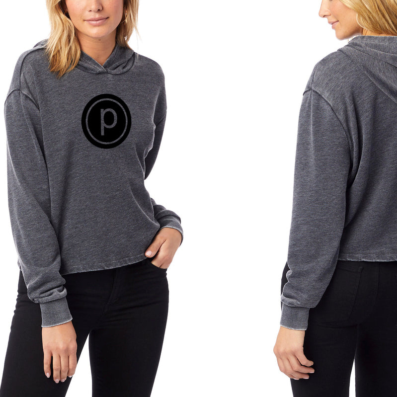 PURE BARRE CIRCLE P CROPPED PULLOVER - WASHED BLACK/BURNOUT