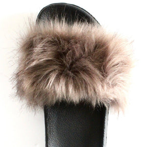 KNOTTY FAUX FUR SLIPPERS - TAUPE