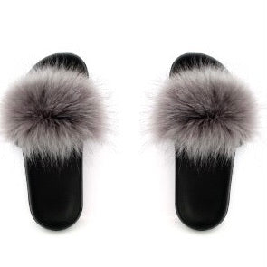 KNOTTY FAUX FUR SLIPPERS - GREY