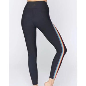 SPIRITUAL GANGSTER 7/8 LEGGING- BLACK W RAINBOW STRIPE
