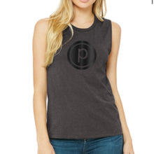 Load image into Gallery viewer, CIRCLE P JERSEY MUSCLE TANK- GRAY/BLACK